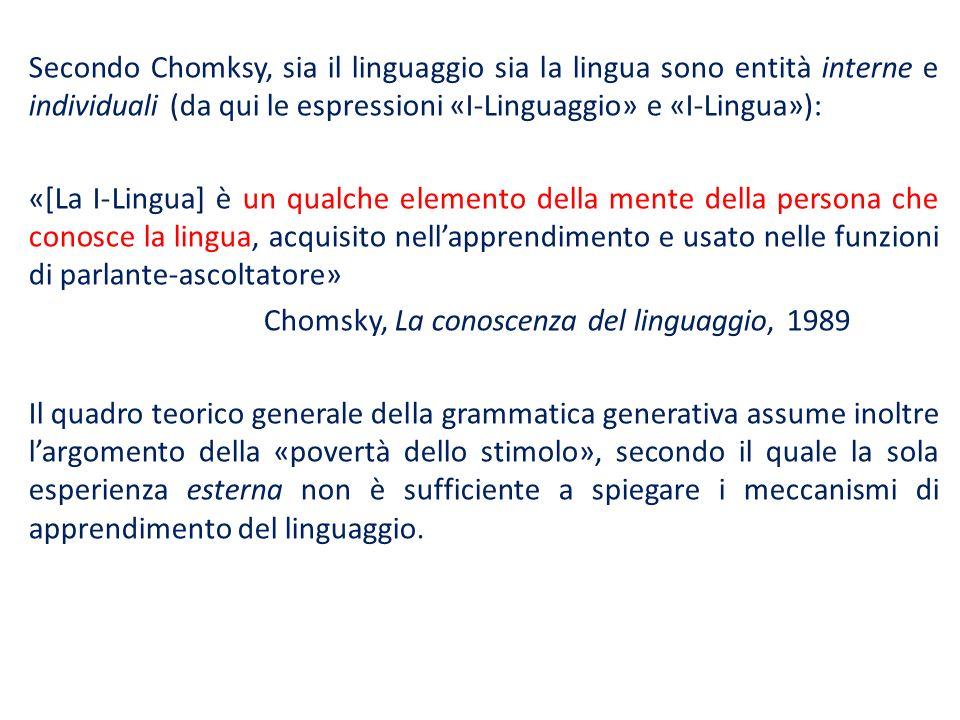 Secondo Chomksy, sia il linguaggio sia la lingua sono entità interne e individuali (da qui le espressioni «I-Linguaggio» e «I-Lingua»): «[La I-Lingua] è un qualche elemento della mente della persona che conosce la lingua, acquisito nell'apprendimento e usato nelle funzioni di parlante-ascoltatore» Chomsky, La conoscenza del linguaggio, 1989 Il quadro teorico generale della grammatica generativa assume inoltre l'argomento della «povertà dello stimolo», secondo il quale la sola esperienza esterna non è sufficiente a spiegare i meccanismi di apprendimento del linguaggio.